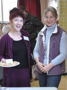 Parish Councillors Pervin Shahin and Christine West plie tea and biscuits
